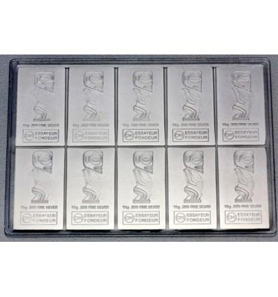 Tablette monnaie argent Iles Cook 10 x 10g av