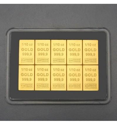 Lingot tablette CombiBar Or 10 x 1/10once vue1