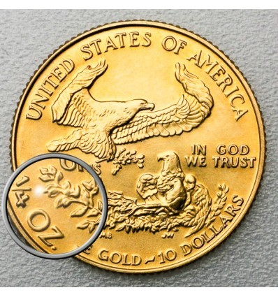 Pièce 1/4 once Or Americaine Eagle revers photo 1