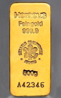 Lingot d'Or 500g HERAEUS